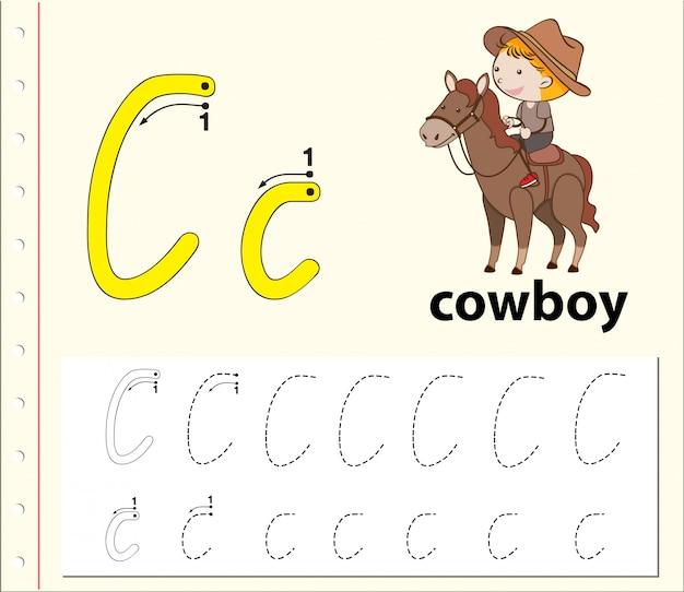 Arbeitsblätter für buchstaben-c-tracing-alphabete Premium Vektoren