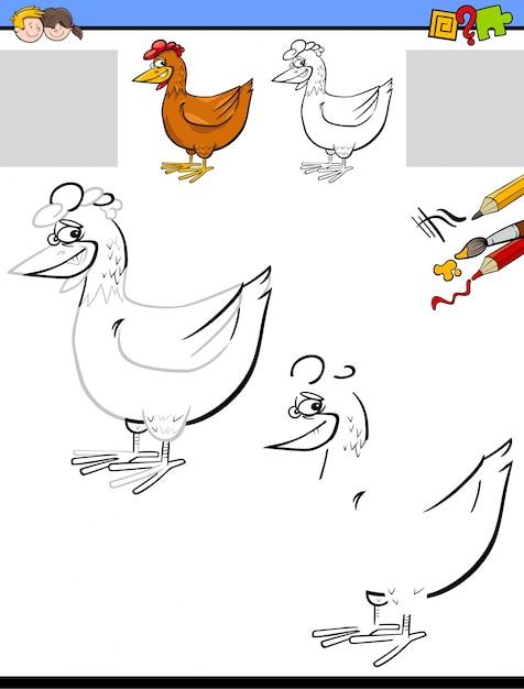 Arbeitsblatt des Zeichnens und der Färbung mit Huhn | Download der ...