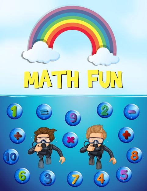 Arbeitsblatt-Design für Mathe mit Unterwasser-Hintergrund | Download ...