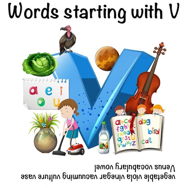 Arbeitsblatt für Wörter, die mit V beginnen | Download der Premium ...