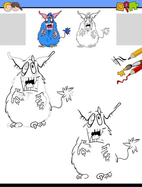 Arbeitsblatt mit Monster zeichnen und färben | Download der Premium ...
