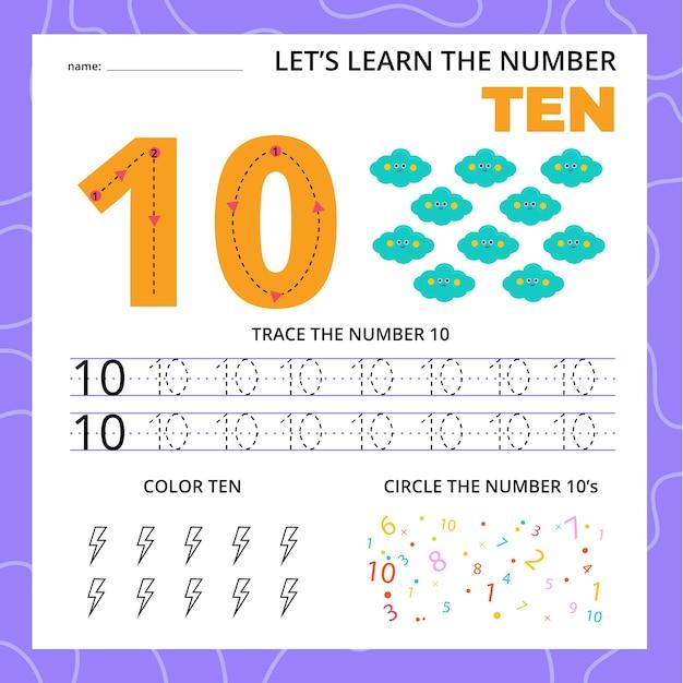 Arbeitsblatt nummer zehn für kinder Kostenlosen Vektoren