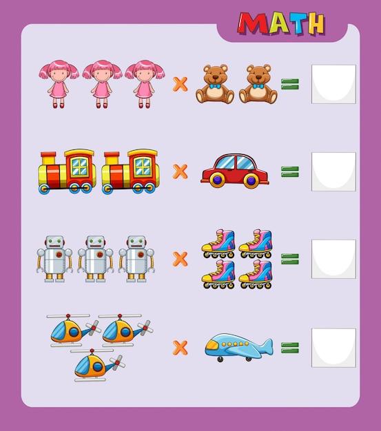 Arbeitsblatt Vorlage für einfache Multiplikation | Download der ...