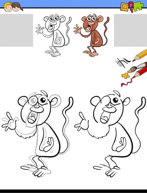 Arbeitsblatt zum Zeichnen und Ausmalen mit Affen | Download der ...