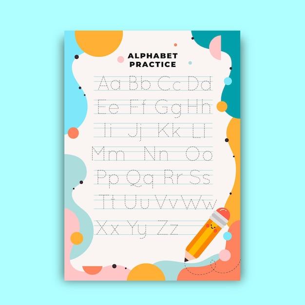 Arbeitsblatt zur alphabetverfolgung für kinder Kostenlosen Vektoren