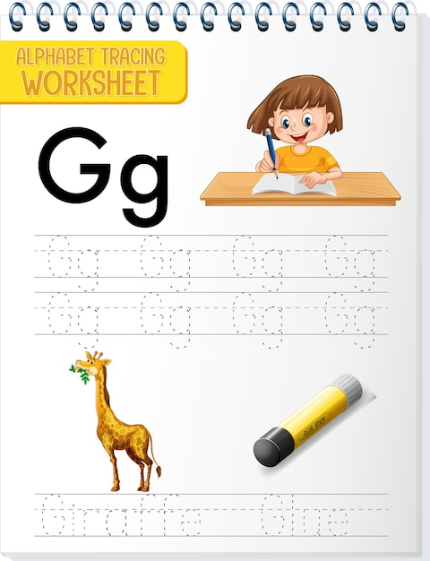 Arbeitsblatt zur alphabetverfolgung mit buchstaben und vokabeln Kostenlosen Vektoren