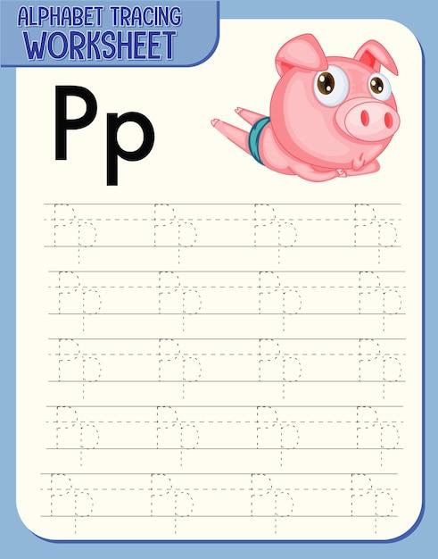 Arbeitsblatt zur alphabetverfolgung mit den buchstaben p und p Kostenlosen Vektoren