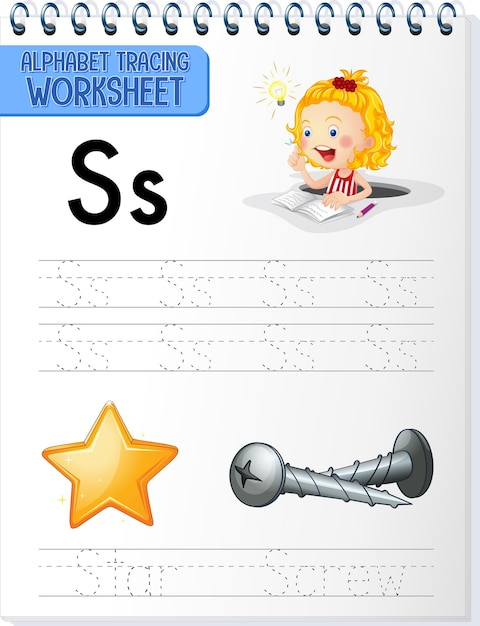 Arbeitsblatt zur alphabetverfolgung mit den buchstaben s und s Kostenlosen Vektoren