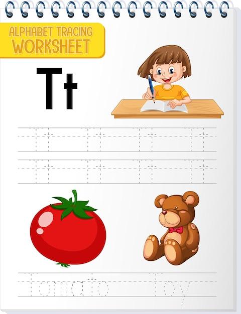 Arbeitsblatt zur alphabetverfolgung mit den buchstaben t und t Kostenlosen Vektoren