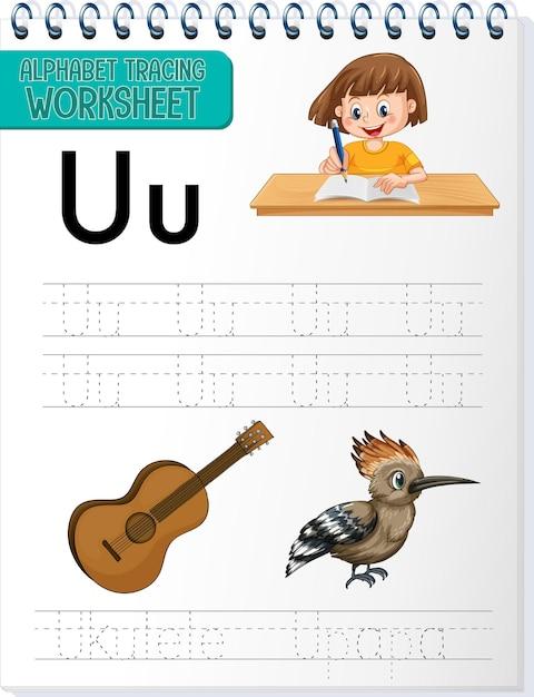 Arbeitsblatt zur alphabetverfolgung mit den buchstaben u und u Kostenlosen Vektoren