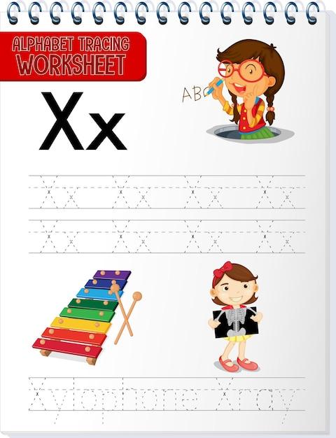 Arbeitsblatt zur alphabetverfolgung mit den buchstaben x und x Kostenlosen Vektoren