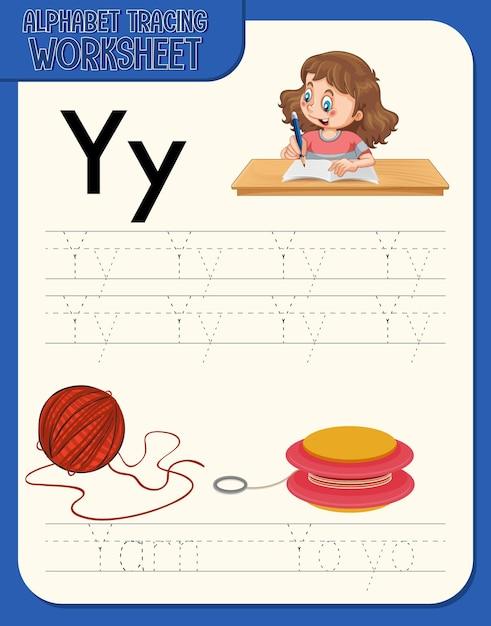 Arbeitsblatt zur alphabetverfolgung mit den buchstaben y und y Kostenlosen Vektoren