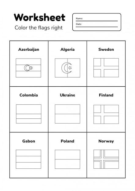 Arbeitsblatt zur geographie für kinder im vorschul- und schulalter. färbe die flaggen richtig. malvorlage. Premium Vektoren