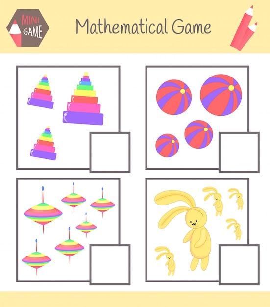 Arbeitsbuch zur mathematik im vorschulalter. rätsel für kinder. lerne zu zählen. löse beispiele Premium Vektoren