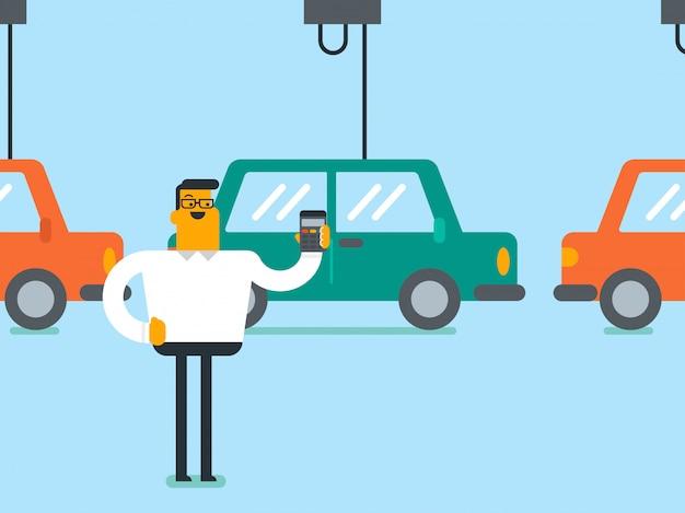 Arbeitskraft, die automatisierte fließband für auto steuert Premium Vektoren