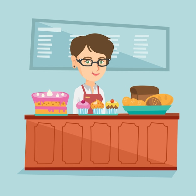 Arbeitskraft, die hinter der theke an der bäckerei steht. Premium Vektoren