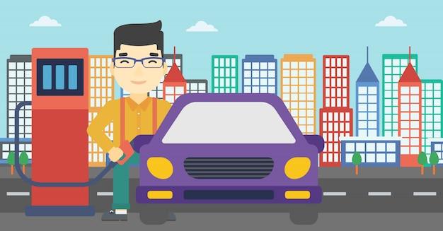 Arbeitskraft, die kraftstoff in auto auffüllt. Premium Vektoren