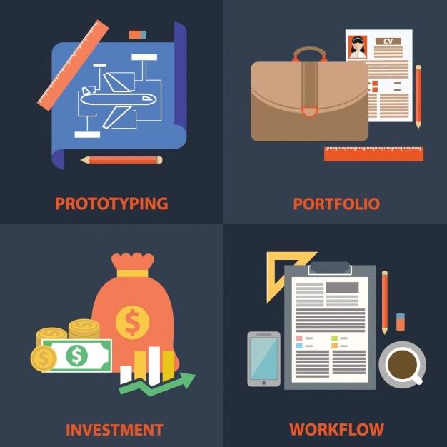 Arbeitsphasen-designs Kostenlosen Vektoren