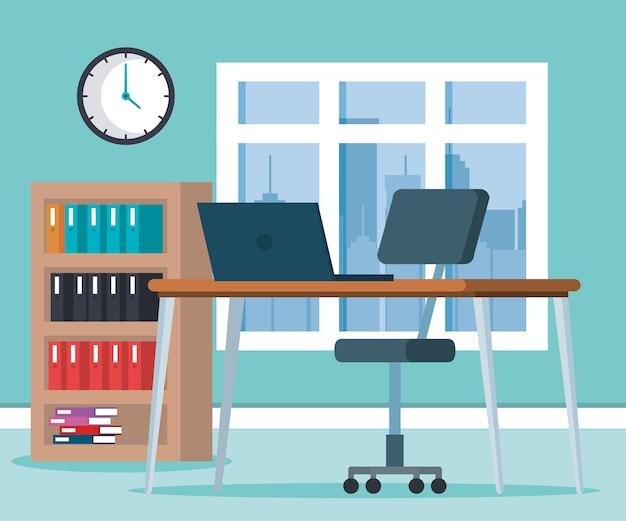 Arbeitsplatz büro szene symbole Premium Vektoren