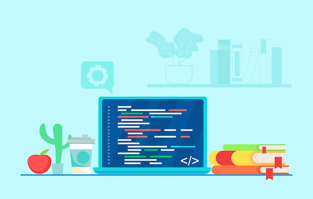Arbeitsplatz des programmierers code auf einen laptop schreiben. Kostenlosen Vektoren