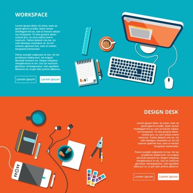 Arbeitsplatz Desktop bis Ansicht Kostenlose Vektoren