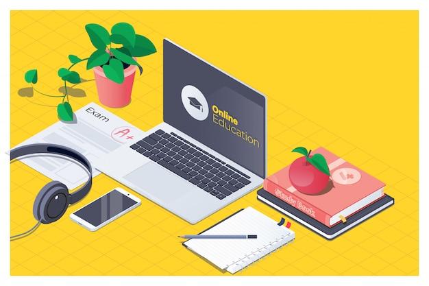 Arbeitsplatz für online-bildung Premium Vektoren