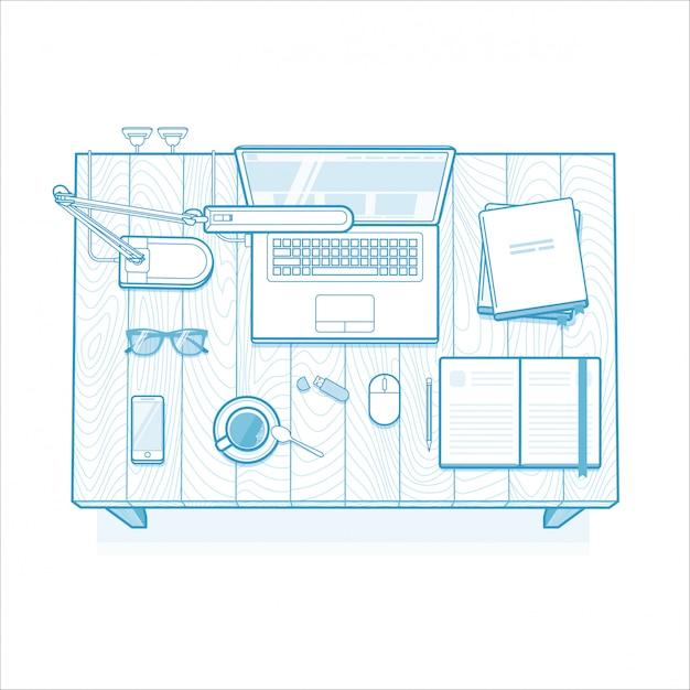 Arbeitsplatz. minimalistisch gefüttert Premium Vektoren