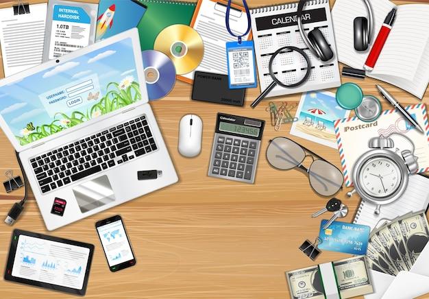 Arbeitsplatz mit objekt und werkzeugen auf holztisch Premium Vektoren
