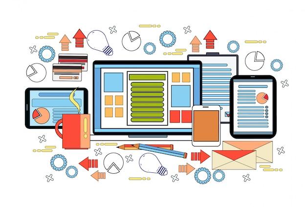 Arbeitsplatz-schreibtisch-konzept, geschäfts-arbeits-desktop mit laptop-computer, diagrammen und dokumenten auf digital-tablets Premium Vektoren