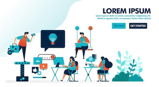 Arbeitsplatzgestaltung für millennials, coworking space oder einen modernen arbeitsplatz Premium Vektoren
