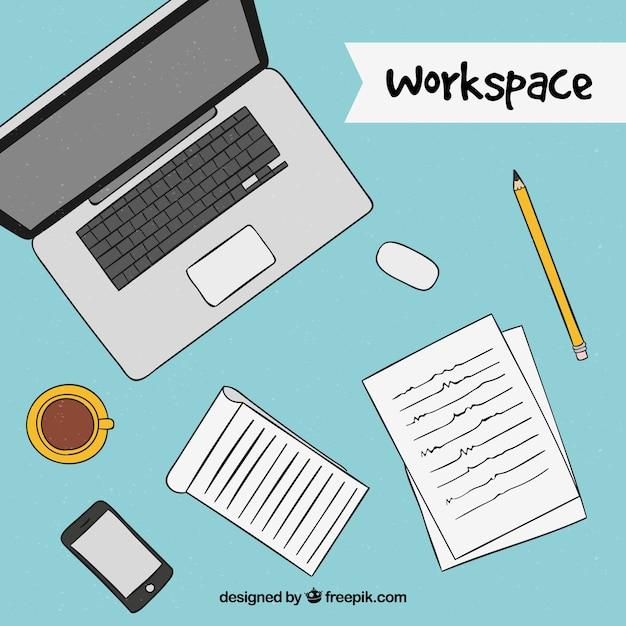 Arbeitsplatzgestaltung mit Laptop Kostenlose Vektoren
