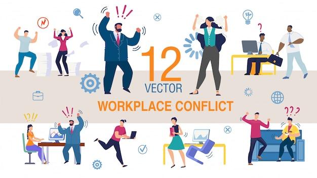 Arbeitsplatzkonflikt flache konzepte festgelegt Premium Vektoren