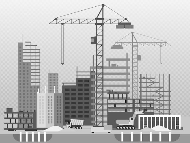 Arbeitsprozess des hochbaus und der maschinerie lokalisiert auf transparentem Premium Vektoren