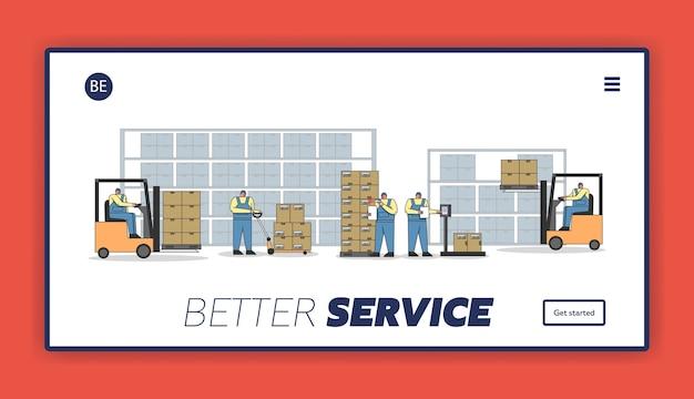 Arbeitsprozess im lager mit arbeitspersonal. Premium Vektoren