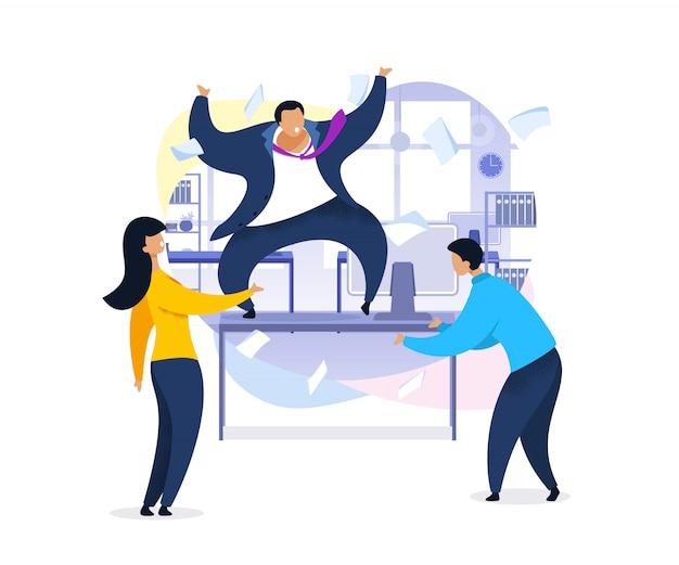 Arbeitsrausch, büro-chaos, flache illustration Premium Vektoren
