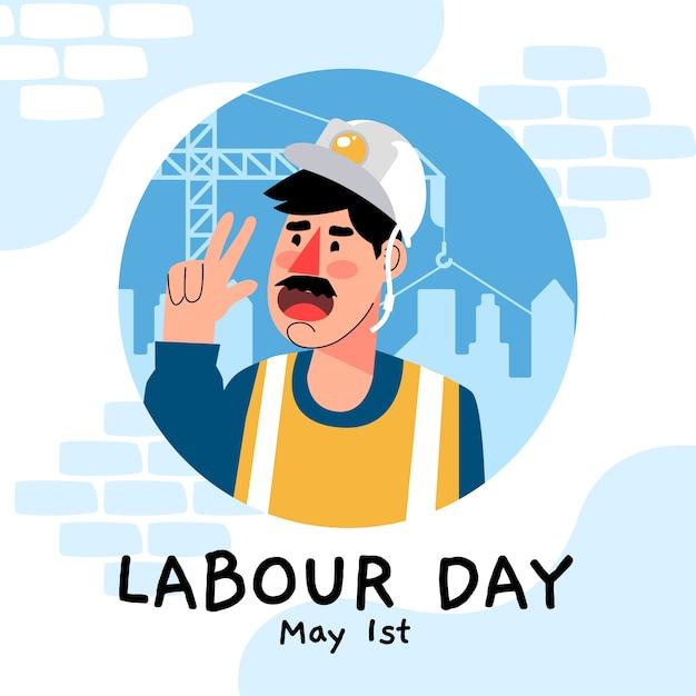 Arbeitstag mit bauarbeiter Kostenlosen Vektoren