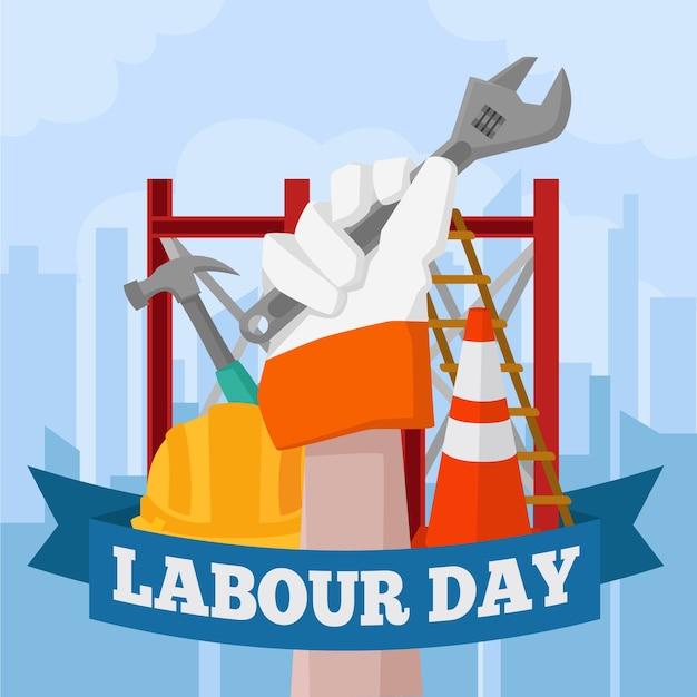 Arbeitstag mit hand des arbeiters dargestellt Kostenlosen Vektoren