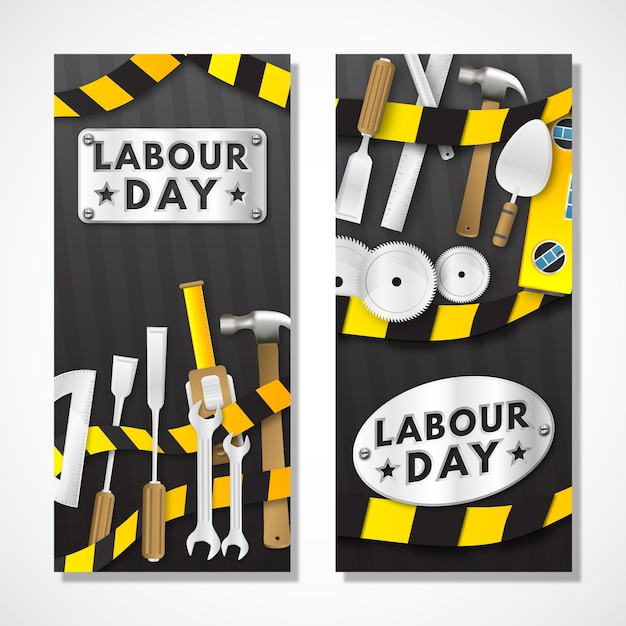 Arbeitstag mit werkzeugen Kostenlosen Vektoren