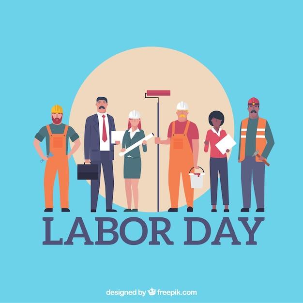 Arbeitstageshintergrund mit arbeitskräften Premium Vektoren