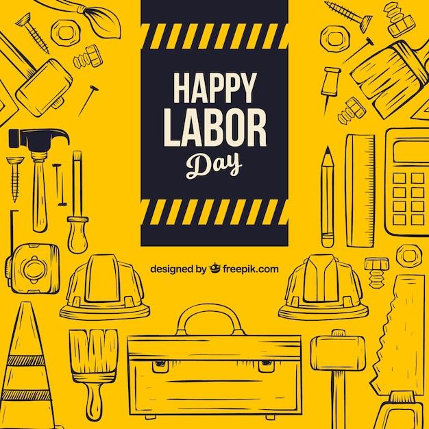Arbeitstageszusammensetzung mit hand gezeichneten werkzeugen Kostenlosen Vektoren