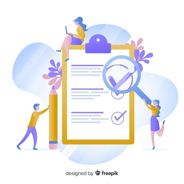 Arbeitsteam, das riesige checkliste überprüft Kostenlosen Vektoren