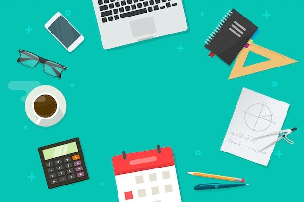 Arbeitstisch und bildung oder schulgegenstände und kopienraum für flache karikatur des textes legen draufsicht Premium Vektoren
