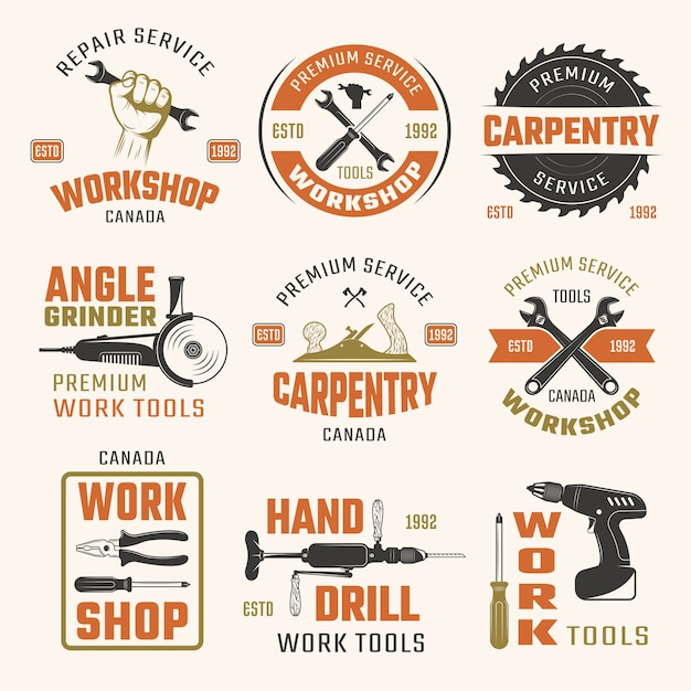 Arbeitswerkzeuge retro style embleme Kostenlosen Vektoren