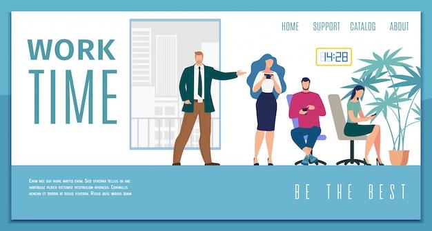Arbeitszeiteffizienz flat web banner Premium Vektoren