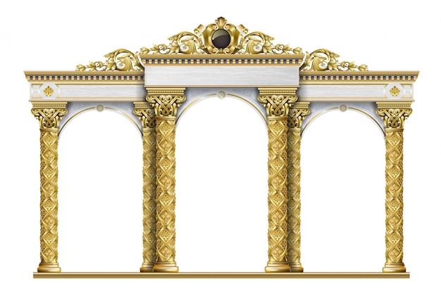 Arcade golden terrace palace eingang Premium Vektoren