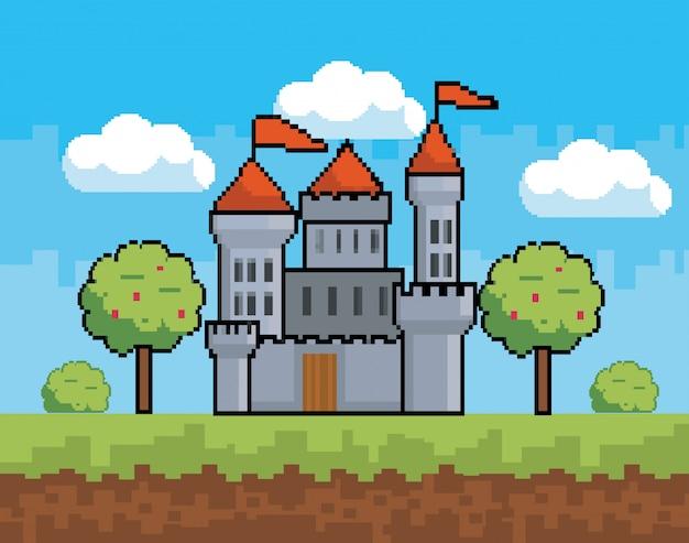 Arcade-spielwelt und pixelszene Kostenlosen Vektoren