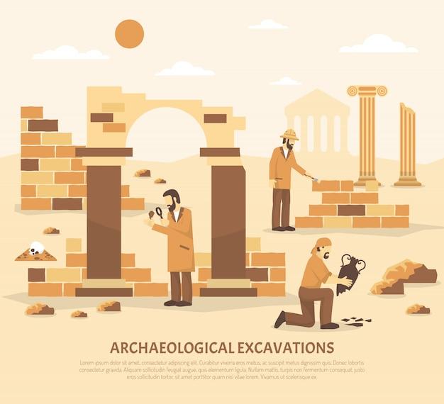 Archäologie-ausgrabungs-illustration Kostenlosen Vektoren