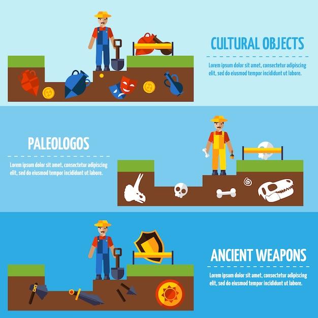 Archäologie banner set Kostenlosen Vektoren