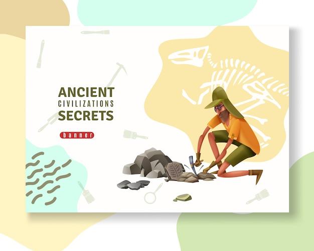 Archäologiekonzeptfahne mit zusammenfassung verziert piktogrammschattenbilder von grabenden werkzeugen und von menschlichem charakter der gekritzelart Kostenlosen Vektoren