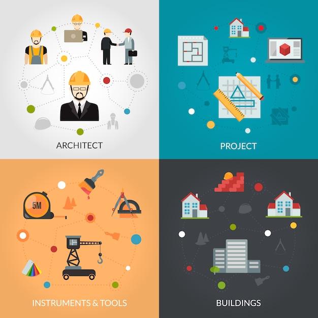 Architekt flach gesetzt Kostenlosen Vektoren